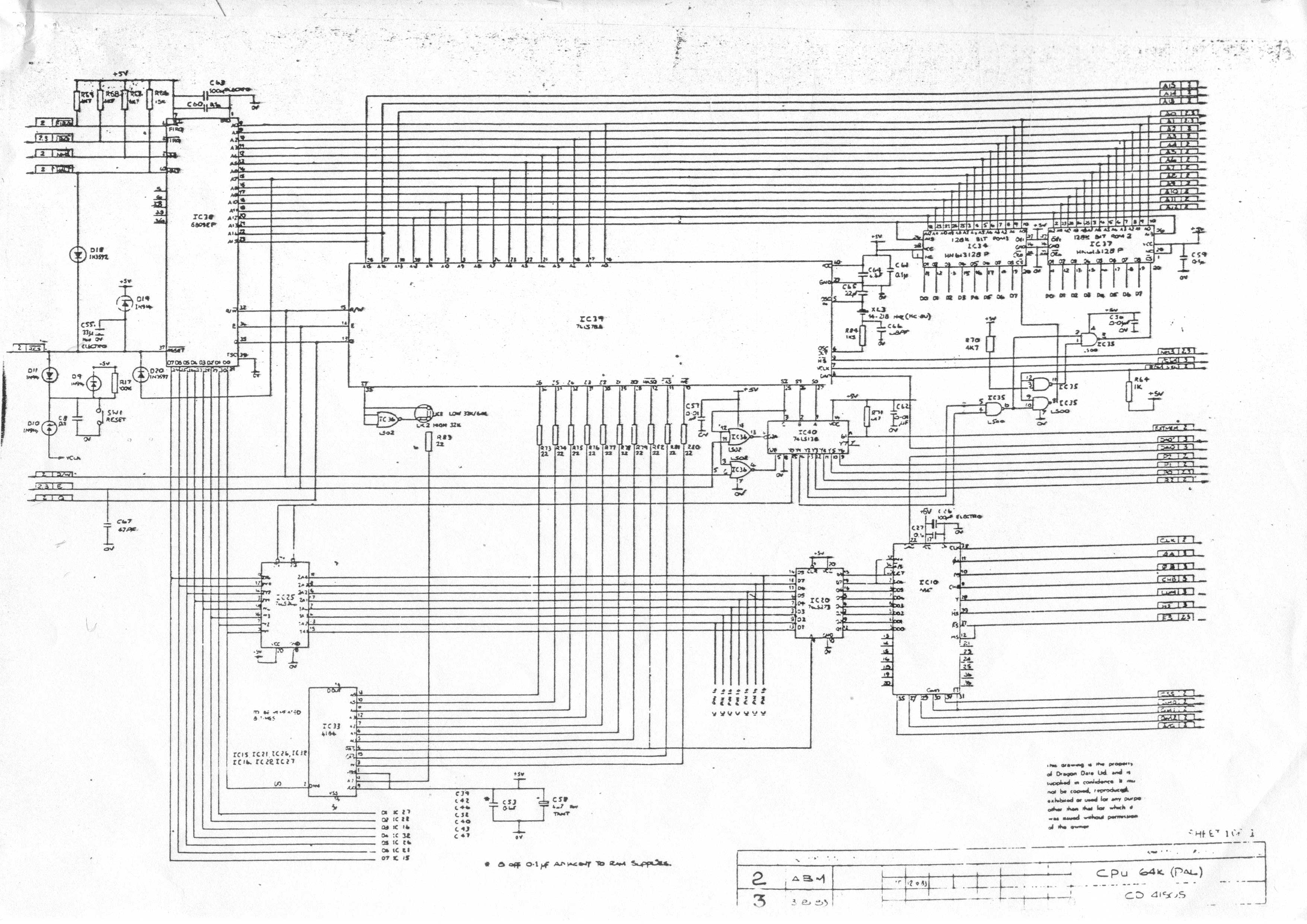 Technical Dragon 64 Schematics Cpu Circuit Diagram And Support Chips 809k